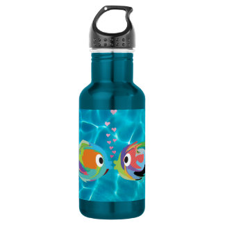 Kissing Fish 18 oz. Electric Blue Stainless Steel Water Bottle