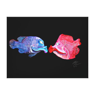 """Kissing Fish"" Art by Mike Quinn Canvas Print"