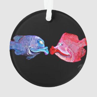 """Kissing Fish"" Art by Mike Quinn Ornament"