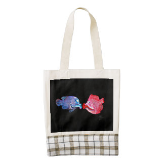 """""""Kissing Fish"""" Art by Mike Quinn Zazzle HEART Tote Bag"""