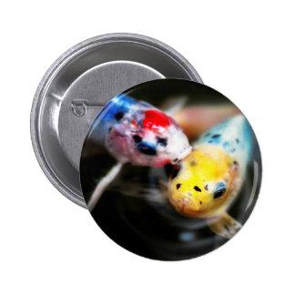 Kissing fish pinback button