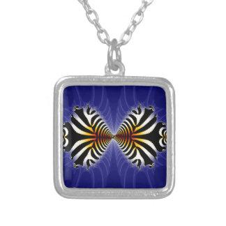 Kissing Fish Fractal Zebra Fish Square Pendant Necklace