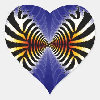 Kissing Fish Fractal Zebra Fish Heart Stickers
