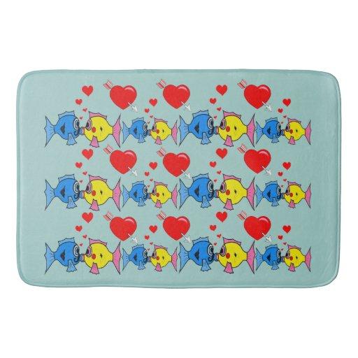 Kissing fish in love bath mat bath mats zazzle for Fish bath mat
