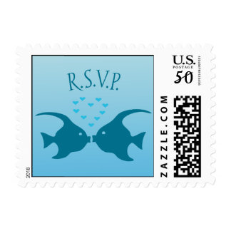 Kissing fish RSVP stamp hearts under water