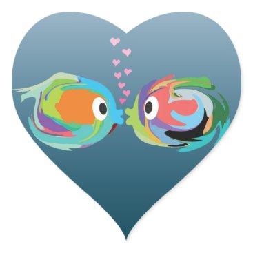 Valentines Themed Kissing Fish sticker