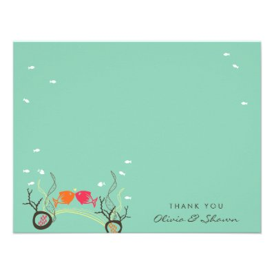 Kissing Fishes Coral Sea Beach Wedding Thank You Invite