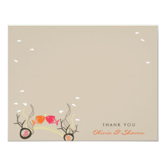 Kissing Fishes Coral Sea Wedding Thank You Card Custom Invite