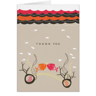 Kissing Fishes Coral Waves 2 Thank You Card
