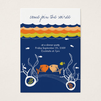 Kissing Fishes Corals Beach Whimsical Cute Wedding Business Card