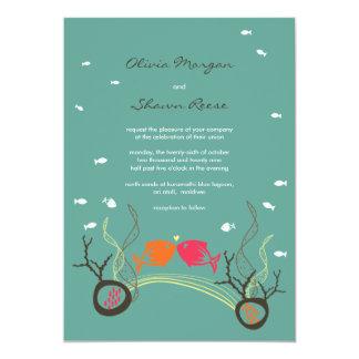 Kissing Fishes Corals Beach Whimsical Cute Wedding 5x7 Paper Invitation Card