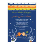"Kissing Fishes Corals Beach Whimsical Cute Wedding 5"" X 7"" Invitation Card"