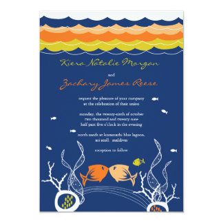 Kissing Fishes Corals Beach Whimsical Cute Wedding Personalized Invitations