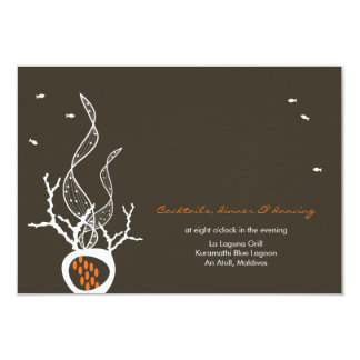 Kissing Fishes Corals Beach Whimsical Cute Wedding 3.5x5 Paper Invitation Card