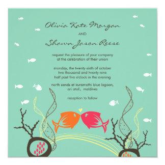 Kissing Fishes Corals Beach Whimsical Cute Wedding Custom Announcement