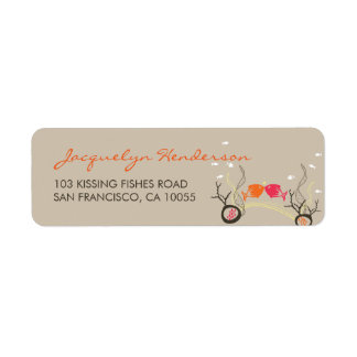 Kissing Fishes Corals Beach Whimsical Cute Wedding Label
