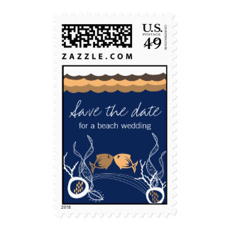 Kissing Fishes Corals Beach Whimsical Cute Wedding Postage