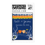 Kissing Fishes Corals Beach Whimsical Cute Wedding Postage Stamp