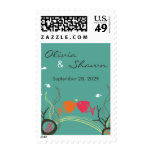 Kissing Fishes Corals Beach Whimsical Cute Wedding Stamps
