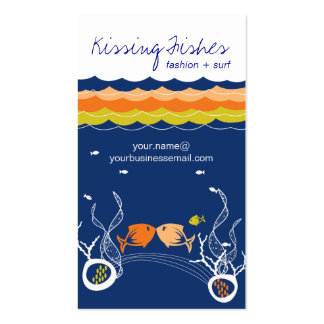 Kissing Fishes Corals Waves Ocean Sea Blue Summer Business Card