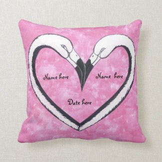 kissing flamingo heart pillow