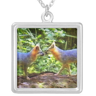 kIssing Foxes Personalized Necklace