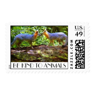 KISSING FOXES STAMP