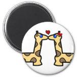 Kissing Giraffes 2 Inch Round Magnet