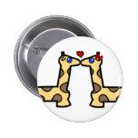 Kissing Giraffes Button