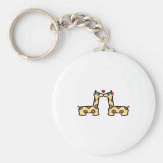 Kissing Giraffes Basic Round Button Keychain
