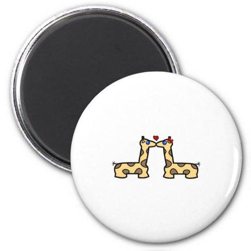 Kissing Giraffes Magnet