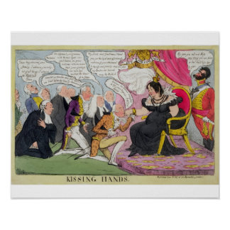 Kissing Hands, published 1827 (colour litho) Poster