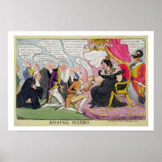 Kissing Hands, published 1827 (colour litho) Poster