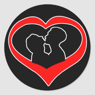 Kissing Heart on Black Classic Round Sticker