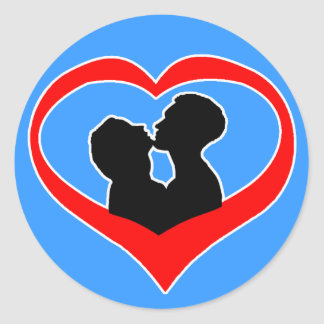 Kissing Heart on Light Blue Classic Round Sticker