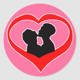Kissing Heart on Pink Background Classic Round Sticker