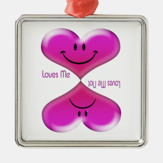 Kissing Hearts, Loves Me, Loves Me Not Metal Ornament