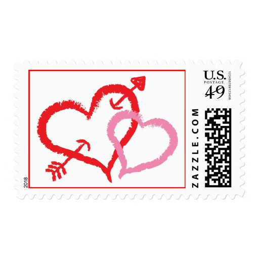 Kissing Hearts Postage Stamp