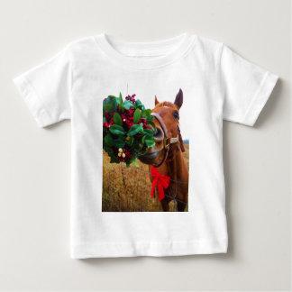 Kissing Horse under Mistletoe Baby T-Shirt