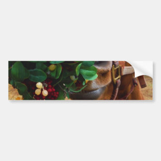 Kissing Horse under Mistletoe Bumper Sticker