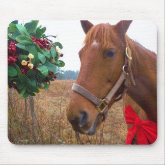 Kissing Horse under Mistletoe Mouse Pad