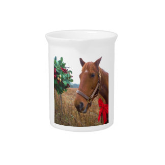 Kissing Horse under Mistletoe Drink Pitchers