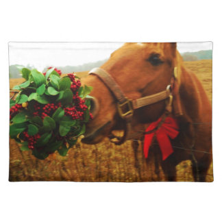 Kissing Horse under Mistletoe Placemats