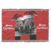 Kissing horses wearing Santa Claus Hats Throw