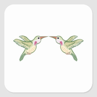 Kissing Hummingbirds Square Sticker