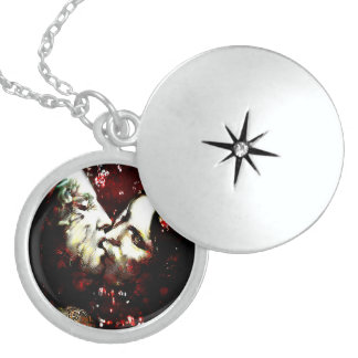 Kissing in the rain round locket necklace