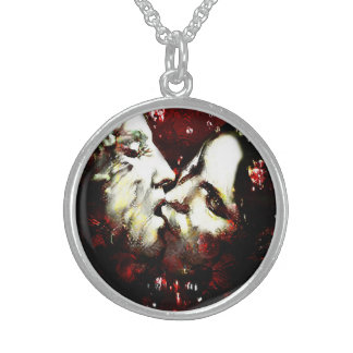 kissing in the rain round pendant necklace