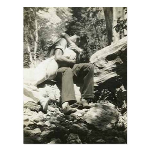 Kissing in the woods post card