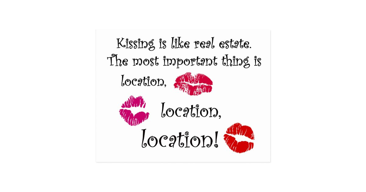 kissing is like real estate quotation love quote postcard - Valentine Real Estate