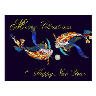 Kissing Koi Merry Christmas & New Year Postcard